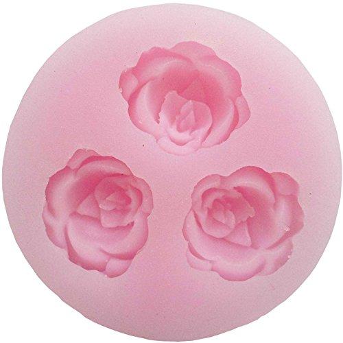 3 Cavités mini rose de floraison fleur moule en silicone,Ustensiles de cuisson Moule Tray Moule à gâteau/sucrerie/Jelly/Glace/Cookie