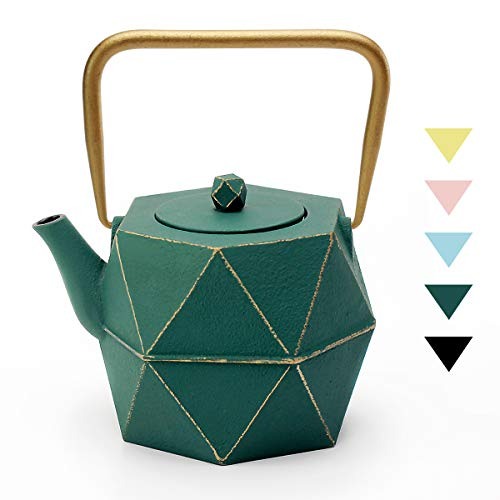 Tea Kettle TOPTIER Japanese Cast Iron Teapot with Stainless Steel Infuser Cast Iron Tea Kettle Stovetop Safe Diamond Design Teapot Coated with Enameled Interior for 30 oz 900 ml Green
