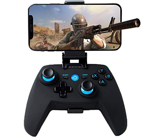 Maegoo Mando para Android/PC/PS3, Bluetooth Inalámbrico Android Móvil Mando con Soporte Retráctil, 2.4G Inalámbrico PC/PS3/TV Mando Gamepad Joystick con Doble Vibración