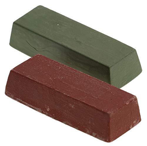 Jufisto Pasta lucidante verde + rosso, 2 pezzi di pasta abrasiva lucidante per metallo, 2 x 200 g