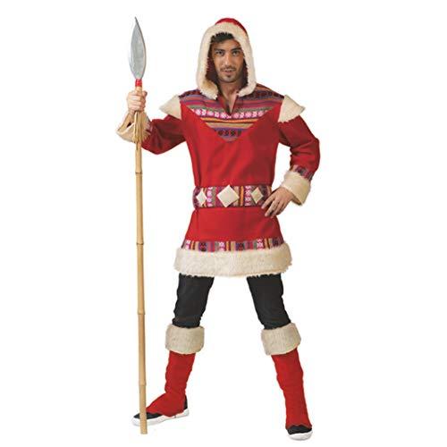 Funny Fashion Eskimo-Verkleidung für Herren Inuit-Kostüm rot-Weiss M / L