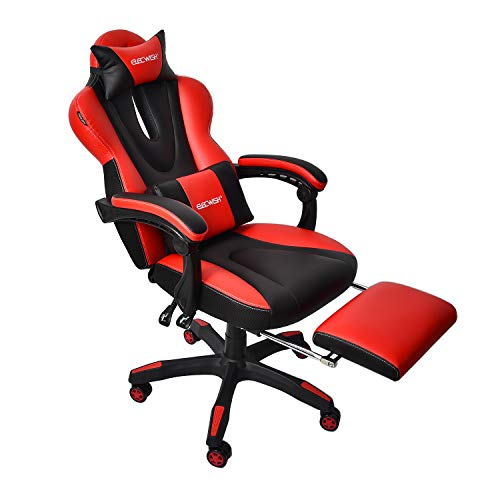ELECWISH Massage Gaming Chair Grey,Ergonomic Office Gaming Chair for Computer with Footrest and Lumbar Support …
