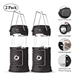 Lyricall Solar Camping Lantern Rechargeable USB,COB LED Lantern Flashlight 2 Power Supply Modes Survival Kit for Emergency, Hurricane, Power Outage(2 pack)