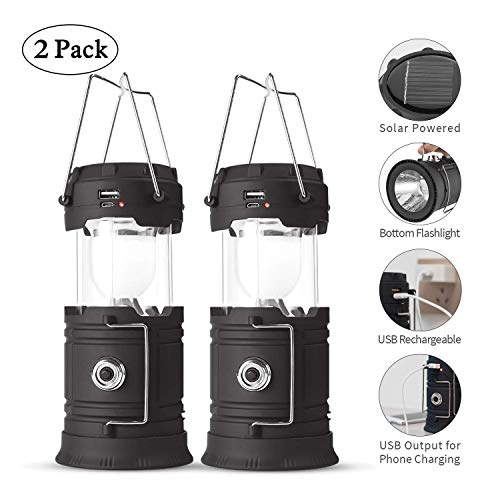 Lyricall Solar Camping Lantern Rechargeable USB,COB LED Lantern Flashlight 2 Power Supply Modes Survival Kit for Emergency, Hurricane, Power Outage(2...