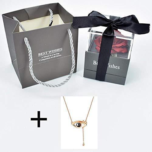 Ontvouw bloem roos Sieradendoos met verrassing 100 talen Ik hou van je Ketting Vreemde cadeau voor moeder vriendin, doos met ketting 13