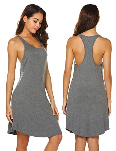 Nachthemd Damen Kurz Pyjama Ärmelloses Unterhemd Schlafanzug Hausanzug elegant Negligee Knielang Nachtwäsche für Mädchen Frauen Sommer