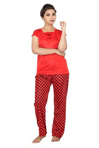 Fabme Women's Polka Dots Satin Night Suit (Top and Capri)...