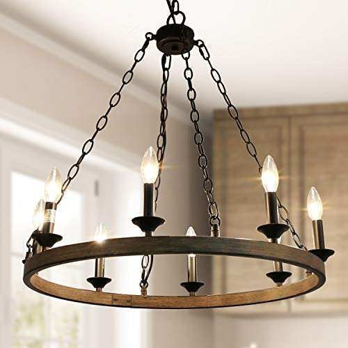LOG BARN Dining Room Lighting Fixtures Hanging, Farmhouse Chandelier in Rustic Faux Wood Metal Finish, Wagon Wheel Pendant for Kitchen Island, Foyer, Bedroom