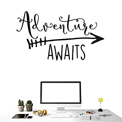 YOYOYU ART HOME DECOR Art Travel Theme Decal Adventure Awaits Quote Arrow Vinyl Wall Decals Living Room Decor Wall Sticker Art Adventure Mural for Kids Bedroom NY-360