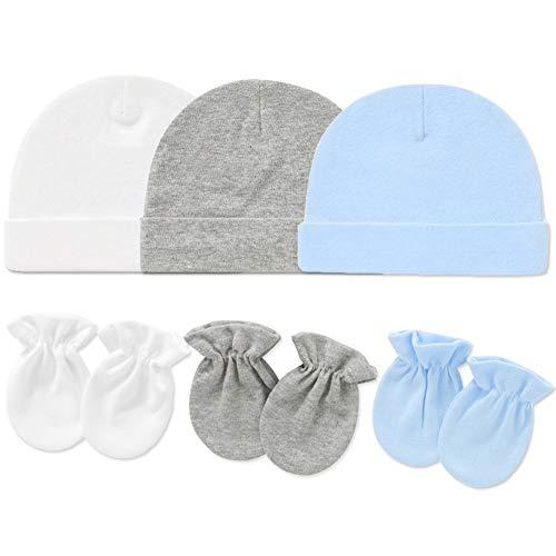 Baby Cap and Mitten Set - Soft Cotton Newborn Hospital Hat with Scratch Mitten Set for Girls Boys(White&Grey&Blue)