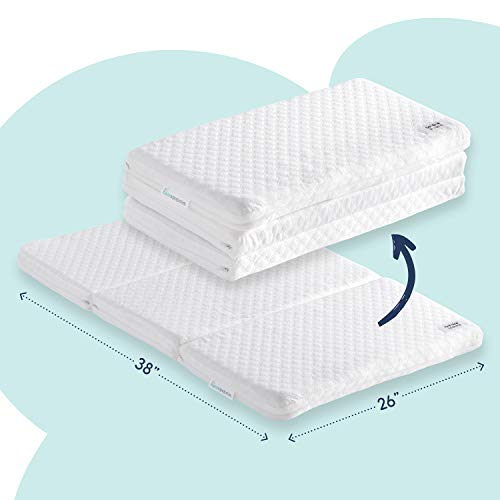 Tri-fold Travel Pack n Play Mattress Pad with Firm (for Babies) & Soft (Toddlers) Sides | Portable Foldable Playard Mattress, Playpen Mattress for Pack and Play Crib | Includes Carry Case