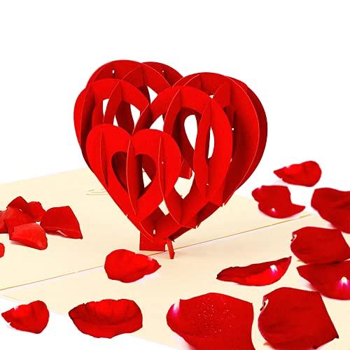 Geschenke für Frauen,Muttertagsgeschenk,Pop-Up Karte Liebe '3D Herz',3d Geschenkkarte,Für Freundin Oder Mutter,Muttertagsgeschenk (Geburtstagskarte, Runder Geburtstag, Muttertag)