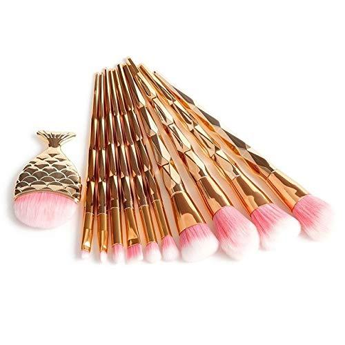 HZD 11Pcs Diamond Rose Gold Makeup Brushes Set Foundation Powder Blush Eye Shadow Mermaid Rainbow Brush Cosmetic Beauty Tools Kit,11PCS