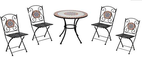 Set pranzo da giardino con mosaico in ceramica quattro posti con tavolo tondo e sedie pieghevoli arredamento bar e giardini
