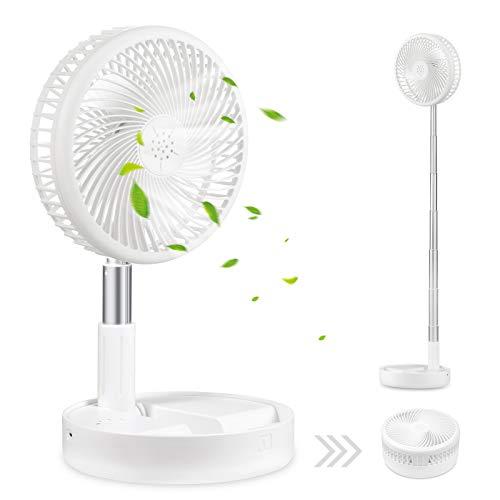Ventilateur de bureau et de table,ventilateur de circulation d'air Mini ventilateurs de voyage portables alimentés par USB, hauteur réglable en tant que ventilateur,4 réglages de vitesse (White)