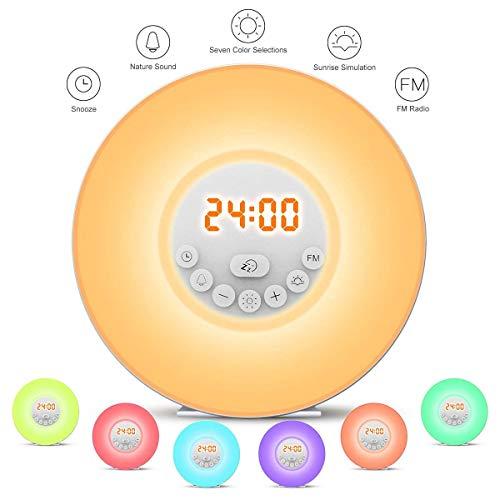 StillCool Wake Up Licht, Lichtwecker Tageslichtwecker Wecker mit licht Sonnenaufgang Simulation Dämmerung Fading Nachtlicht mit Natur Sounds, FM Radio, Touch Contro