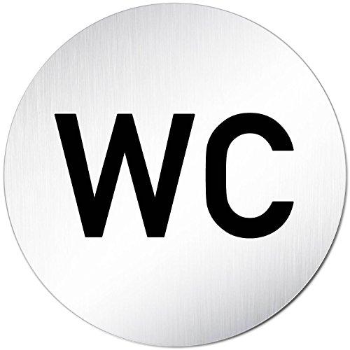 Kinekt3d Leitsysteme XXL Schild WC Toilettenschild • Ø 100 mm • Aluminium (eloxiert) • Türschild Hinweisschild WC