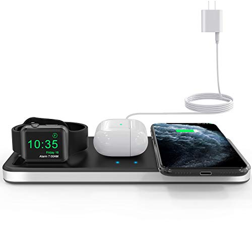 Yestan Wireless Charging Station Wireless Charger Dock Compatible with Apple Watch 5 4 3 2 1, AirPods Pro Airpods and iPhone SE 11 11 pro 11 Pro Max Xs X Max XR X 8 8Plus Samsung, DC Adapter Included