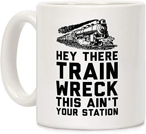 Koffie mok, Thee Beker, Hey Er Trein Wrak Dit is niet Uw Station Wit 11 Ounce Keramische Koffie Mok