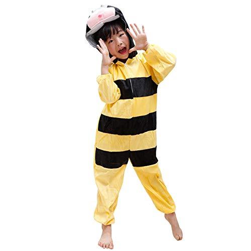 LSERVER - Disfraz de Cosplay para niños y niñas Pijama de Franela Unisexo para Otoño e Invierno Estilo de Animales (80-170cm), Abeja, 100CM(Altura: 95-105 cm)