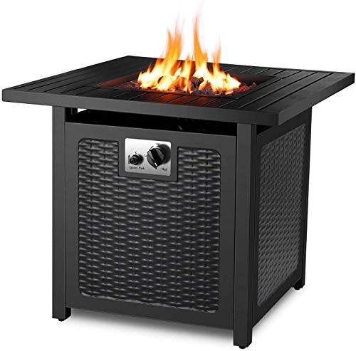 FIXKIT Gas Fire Pit, 30 Inch Gas Fireplace with Waterproof Protective Cover & Lava Rocks, 76 x 76 x 67.5 cm, 14.5 kW, Fire Table with Table Top & Protective Grille