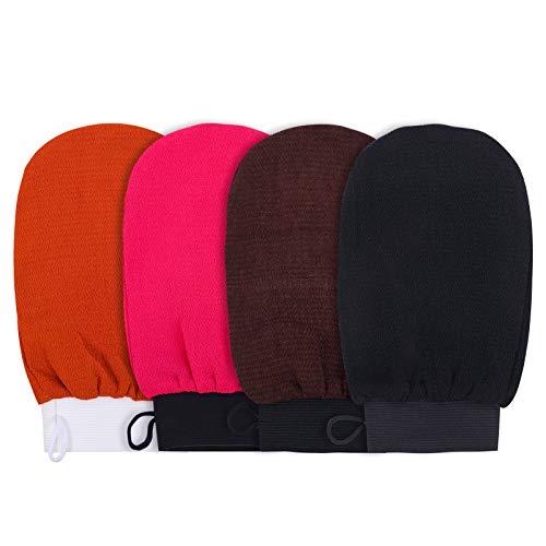 XINRUI Exfoliating Gloves, 4 Pack Shower Scrub Gloves Deep Body Bath Mitt for Men Women Dead Skin Remover Body Scrubber Spa Brush Massage Soap Exfoliator (Color Mixing)