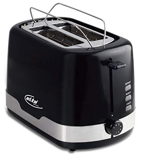 Elta Toaster Black Line ETO-800.15 (850 Watt, 2 Scheiben, inklusive Brötchenaufsatz, 7 Stufen, Auftau-Funktion, einfache Reinigung, schwarz, edelstahl), Farbe:schwarz