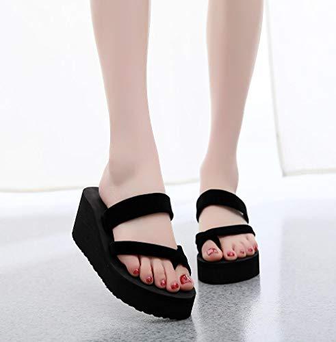COQUI Zapatillas de Verano,Chanclas Zapatos de Mujer, Zapatillas de Mujer, Sandalias de Mujer, Suelas Gruesas de tacón Alto Fuera de la Playa-Juego de Luces Negro_40