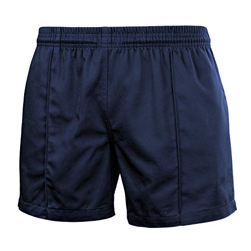 FitsT4 Men & Women Pro Rugby Shorts Sports Team Training Wear Elastic Waist Shorts with Pockets Navy Blue XL