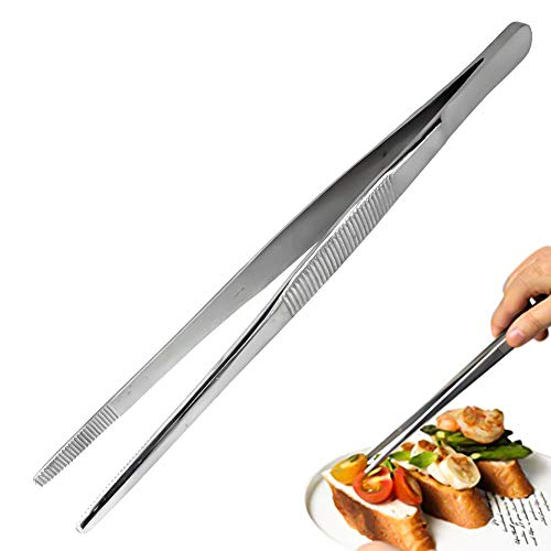 Pinzas de barbacoa de acero inoxidable 304, pinzas de cocina profesionales con pinzas de alimentos de mango largo, pinzas de barbacoa multifuncionales, 30 cm
