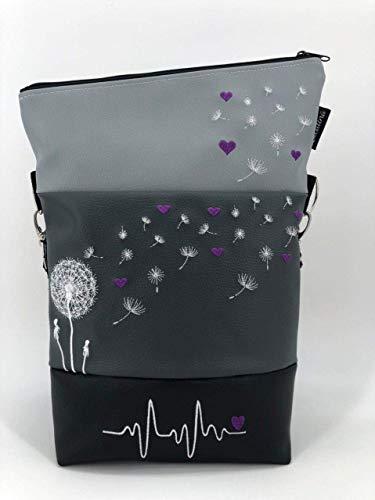 Handtasche Pusteblume mit Herzen Lila Tasche Foldover Schultertasche