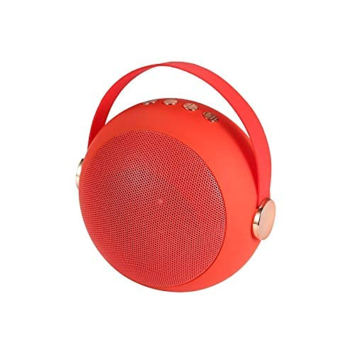 QIXIAOCYB Bluetooth-Lautsprecher- Peeling mit einem roten Riemen tragbarer Bluetooth drahtloser Mini- Lautsprecher Matte Metal Ball Music Box Support TF- Karte USB Scheibe