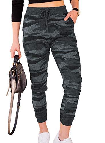 CORAFRITZ Pantalones de mujer con estampado de camuflaje con cintura elástica con cordón y bolsillos laterales casuales para correr pantalones de mujer para salón de maternidad pantalones