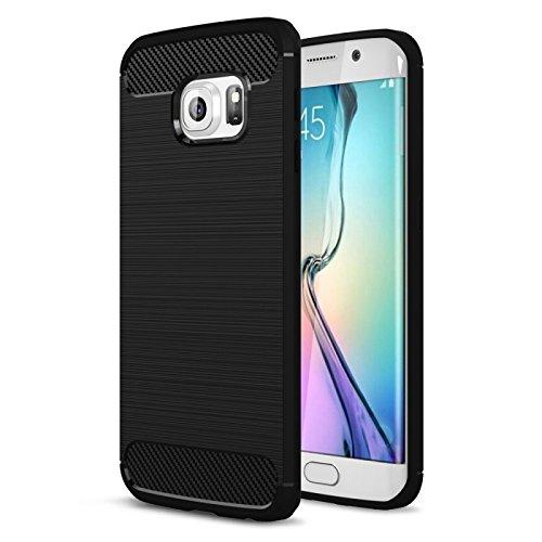 COPHONE Funda compatible con Samsung Galaxy S6 EDGE , Negro Silicona Funda para Galaxy S6 EDGE Carcasa Fibra De Carbono Funda Case