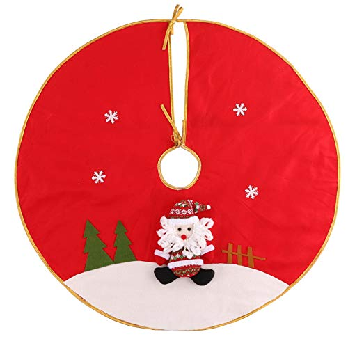 CatNonu Christmas Decorations - 33.4' Christmas Tree Skirt Santa Claus Snowflakes Christmas Tree Cartoon Design Tree Skirt Christmas Tree Mat Pad for Christmas Holiday Party (B)