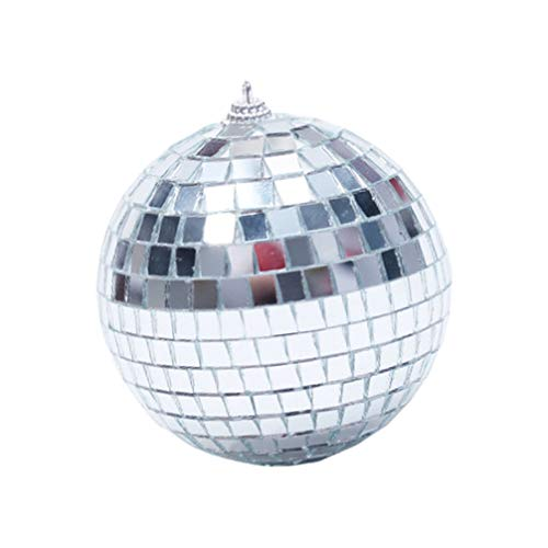 STOBOK 4. Bola de espejo de Navidad de 3 pulgadas de plata de la bola del espejo del disco de la bola de Navidad del ornamento de la decoración para la boda de