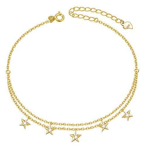 GNOCE Damen Fußkettchen Gold mit Stern 925 Sterling Silber 18 Karat vergoldet Fußkettchen 23 cm Länge mit Einer 5cm langen Kettenverlängerung