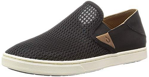OLUKAI Women's Pehuea Leather Shoe, Black/Black, 6 M US