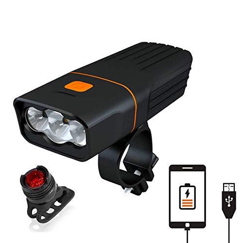 chuanghong 5200 mAh - Luz de bicicleta para bicicleta (carga USB, recargable)