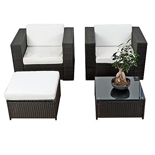 XXL Balkon Lounge Set für Balkon und Terrase erweiterbar - Polyrattan Balkon Lounge Set - schwarz – Gartenmöbel Lounge Möbel Set Garnitur - Gartenlounge Set + Lounge Sessel + Hocker + Tisch + Kissen
