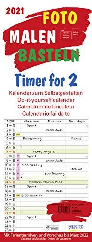 Foto-Malen-Basteln Timer for 2 2021: Familienplaner mit 3 Spalten als Foto-kalender zum Selbstgestalten. Familienkalender mit Ferienterminen und festem Bastelpapier.