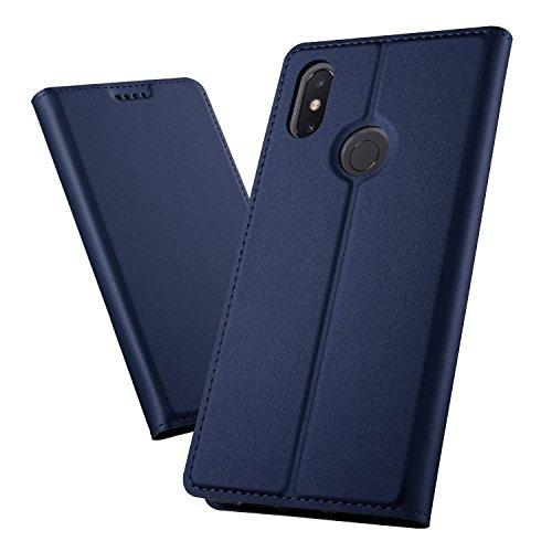 XINKO Xiaomi Mi Max 3 Wallet Tasche Hülle - [Ultra Slim][Card Slot][Eingebauter Magnet] Flip Wallet Hülle Etui für Xiaomi Mi Max 3 - Glatt Series blau