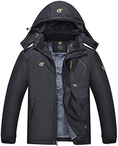 QPNGRP Mens Waterproof Ski Snowboarding Jacket Winter Windproof Snow Coat Black Large