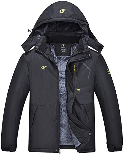 QPNGRP Mens Waterproof Ski Snowboarding Jacket Winter Windproof Snow Coat Black X-Large