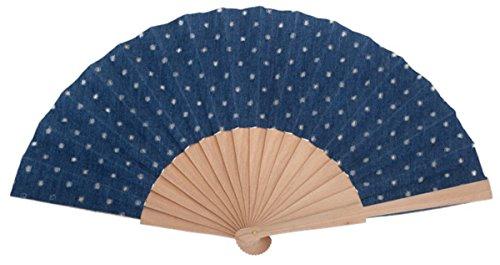 Abanico de Madera Topos Originales Color Azul