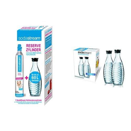 SodaStream Megapack Reservezylinder und Glaskaraffen: Reservepack mit 1x CO2-Zylinder 60L und 3x 0,6 L Glaskaraffe