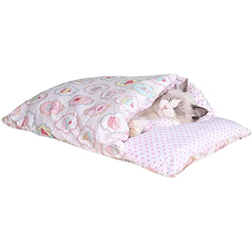 Cat Sleeping Bag Cat Bed Winter Removable Cat Cave Warm Cuddly Bag for Cats Puppies