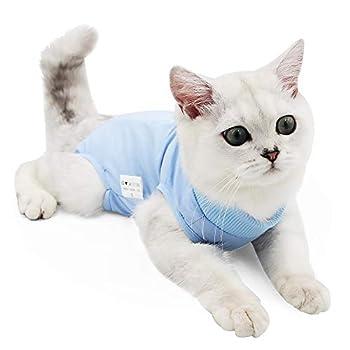 Doton Cat Professionnel Restauration Convient pour abdominaux Collerette des plaies ou des Maladies de la Peau, Alternative pour Chiens et Chats, après la Chirurgie Porter, Maison Vêtements (S, Bleu)