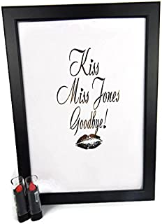 Lápiz labial Kiss The Miss Goodbye, marco dorado, regalo de recuerdo para libro de invitados de la novia, dorado, A4-Black-Personalised