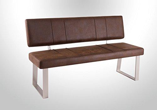 lifestyle4living Esszimmerbank mit Rückenlehne, braun, 2-Sitzer, Vintage Look, rückenecht   Sitzbank für Esszimmer mit bequemer Polsterung - Füße Edelstahl-Optik